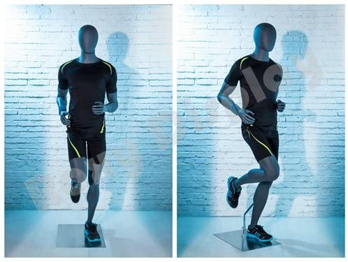 (MZ-HEF63EG) ROXYDISPLAY Eye Catching Male Mannequin with egghead, Athletic Style. Strong and muscular body.Jogger pose.