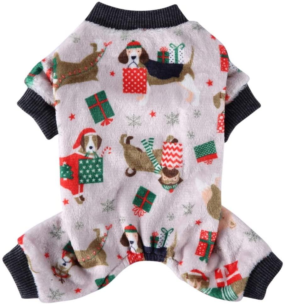 Norbi Pet Dog Warm Jumpsuit Christmas Pattern 4-Legged Cartoon Costume Pet Dog Cold Weather Sleepwear