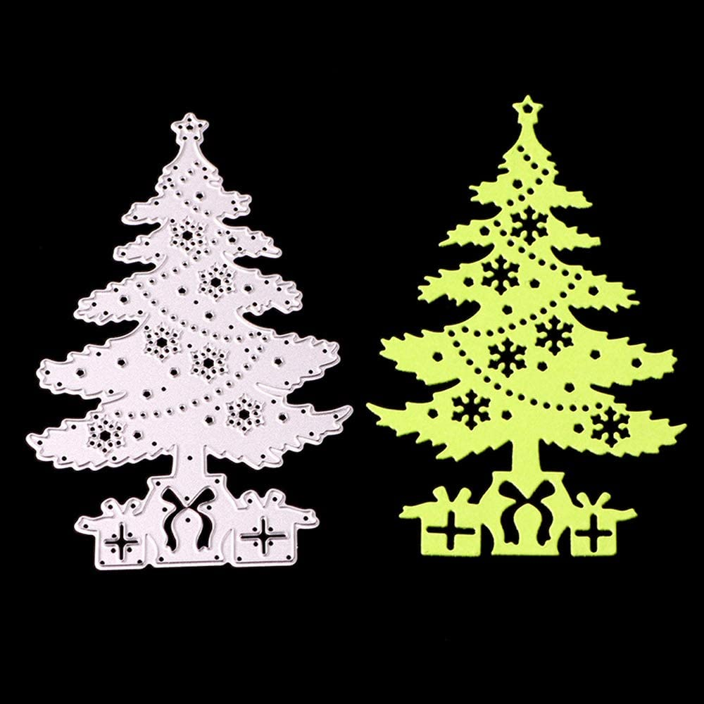 3.3 by 5.1 Inches Christmas Tree with Gift Box Metal Cutting Dies for Scrapbooking and Card Making Christmas Craft Die Cuts