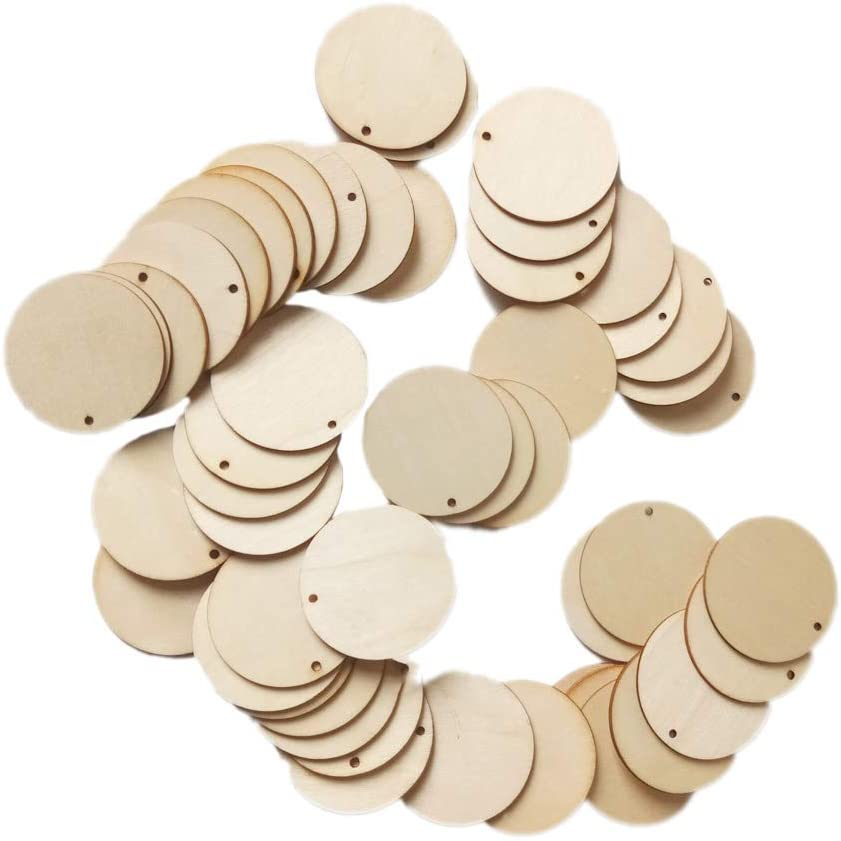 chefensty 50pcs Unfinished Round Wooden Discs Ornament Embellishments For Scrapbooking DIY Craft One Hole Handmade Home Decor 50mm