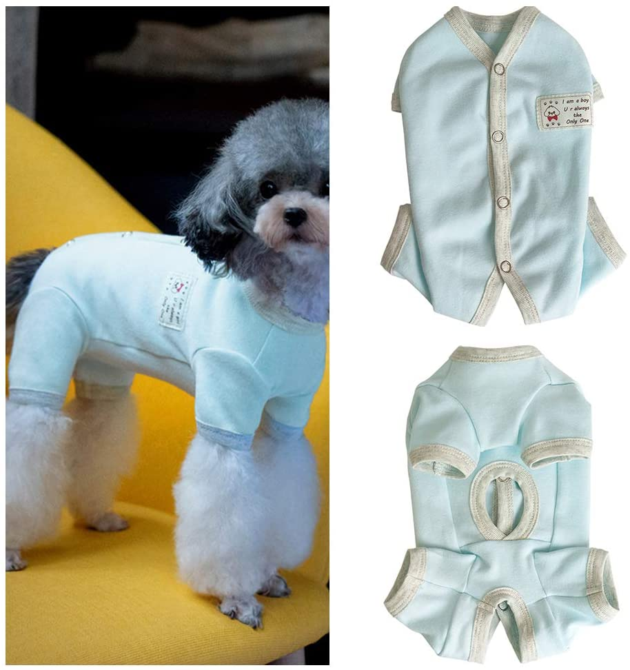 Small Dog Clothes Pet Dog Pajamas 4 Legged Puppy Jumpsuit Surgical Recovery Suit Abdominal Wounds Protector Soft Cotton Breathable Comfortable for Small Dog Puppy Boys (Blue, M)