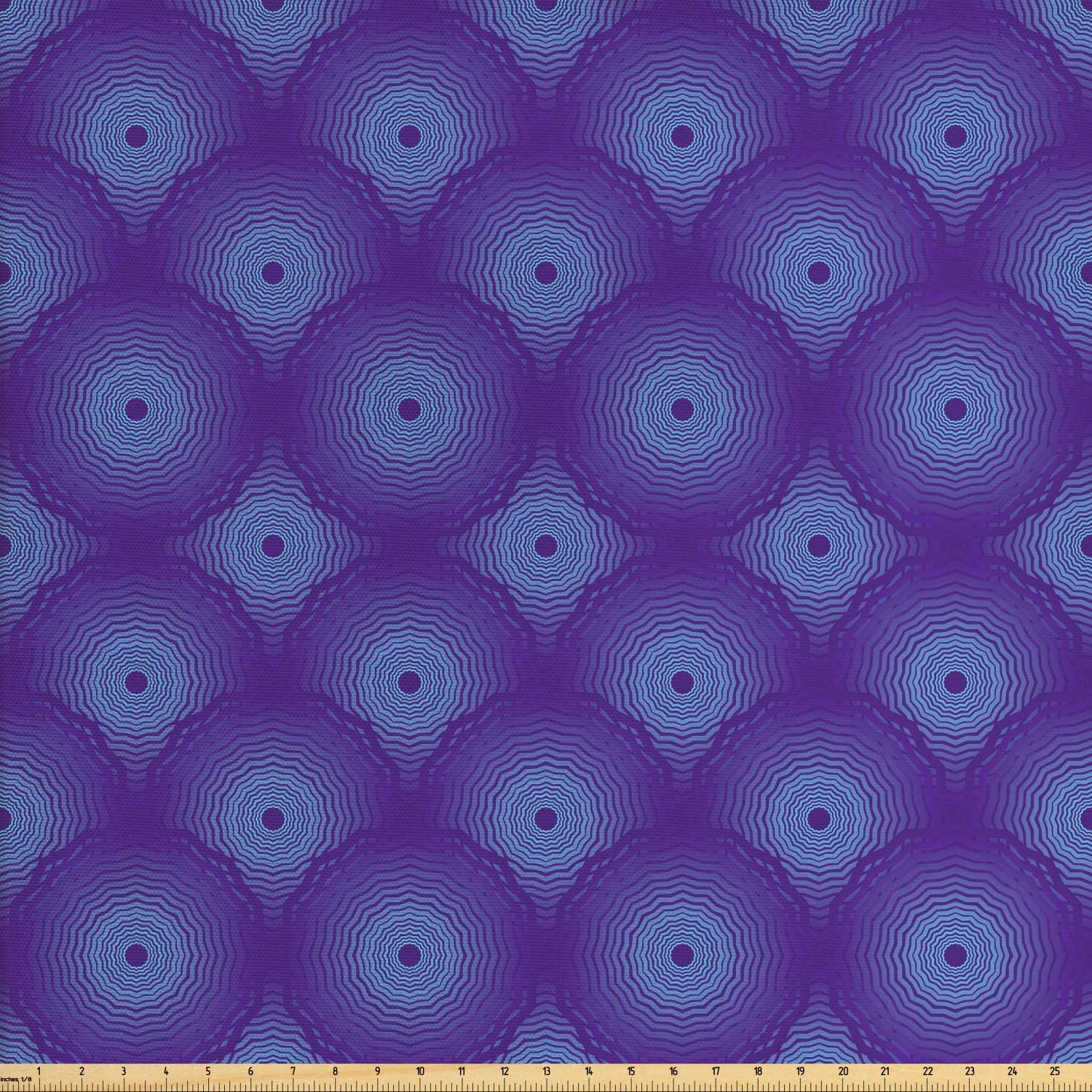 Lunarable Geometric Fabric by The Yard, Concentric Bullseye Circles Wavy Shapes Abstract Arrangement in Purple Tones, Decorative Fabric for Upholstery and Home Accents, 1 Yard, Purple Blue