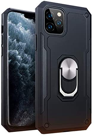 iPhone 11 Pro Military Style Armor Case with Rotating Ring Holder, Kickstand and Metal Stand for Magnetic Car Mount