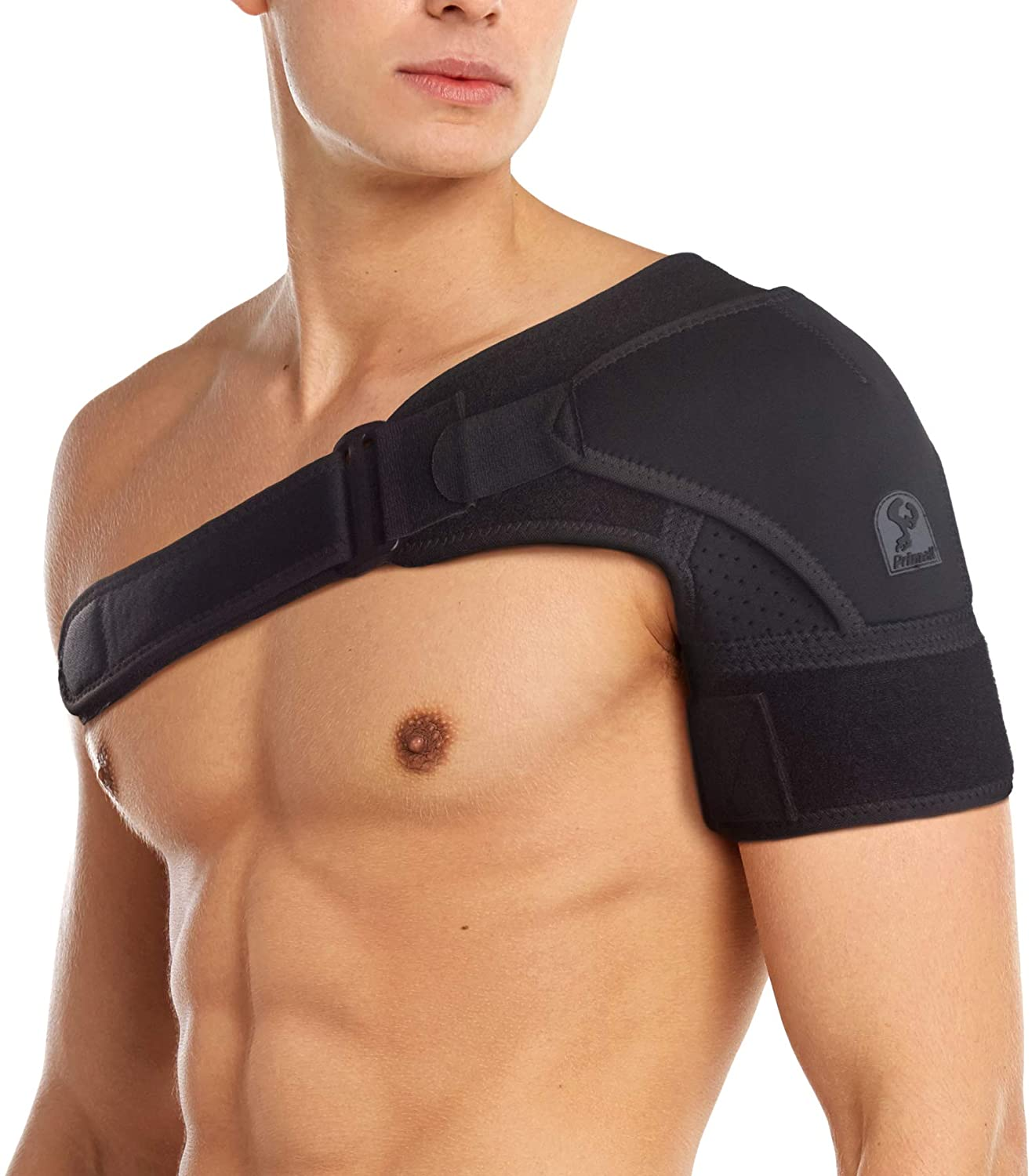 PRIMALL Orthopedic Care Shoulder Brace for Men and Women | Compression Sleeve for Torn Rotator Cuff, Bursitis, Dislocated AC Joint, and Other Injuries | Shoulder Injury Support for Pain Relief (S/M)