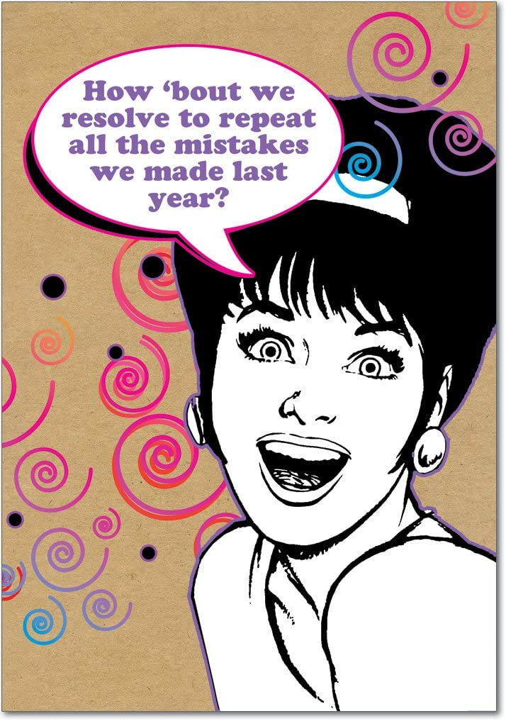 Repeat Mistakes - Box of 12 Happy New Year Greeting Cards with Envelopes (4.63 x 6.75 Inch) - Funny Woman Resolution, Funny Note Cards for Women, Wife, Mom - Retro Printed Stationery B1164