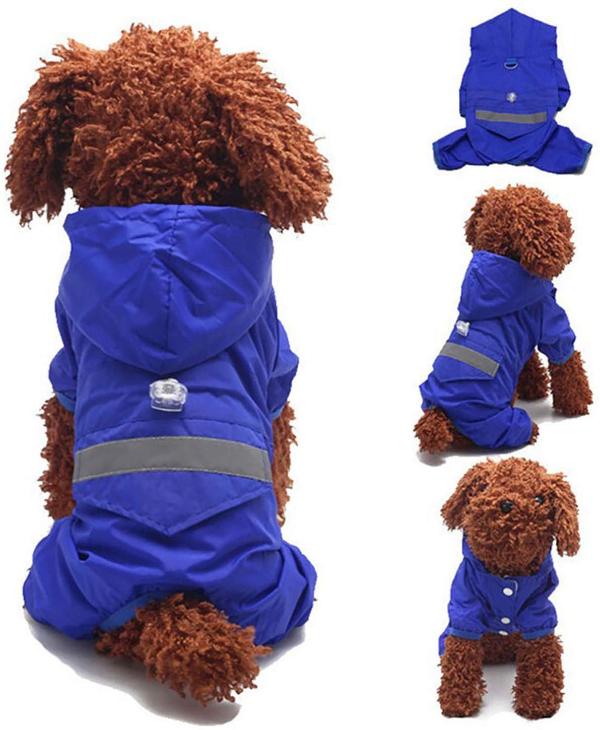 GabeFish Pet Hoody Raincoat Jacket Outdoor Waterproof Clothes Overall for Small Big Dogs with Reflective Stripe