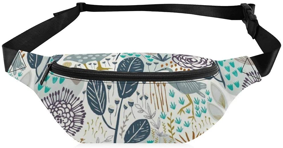 Fanny Pack for Women Men Birds and Blooms Pattern Waist Bag Sling Backpack Water Resistant Durable Lightweight Crossbody Daypack for Outdoor