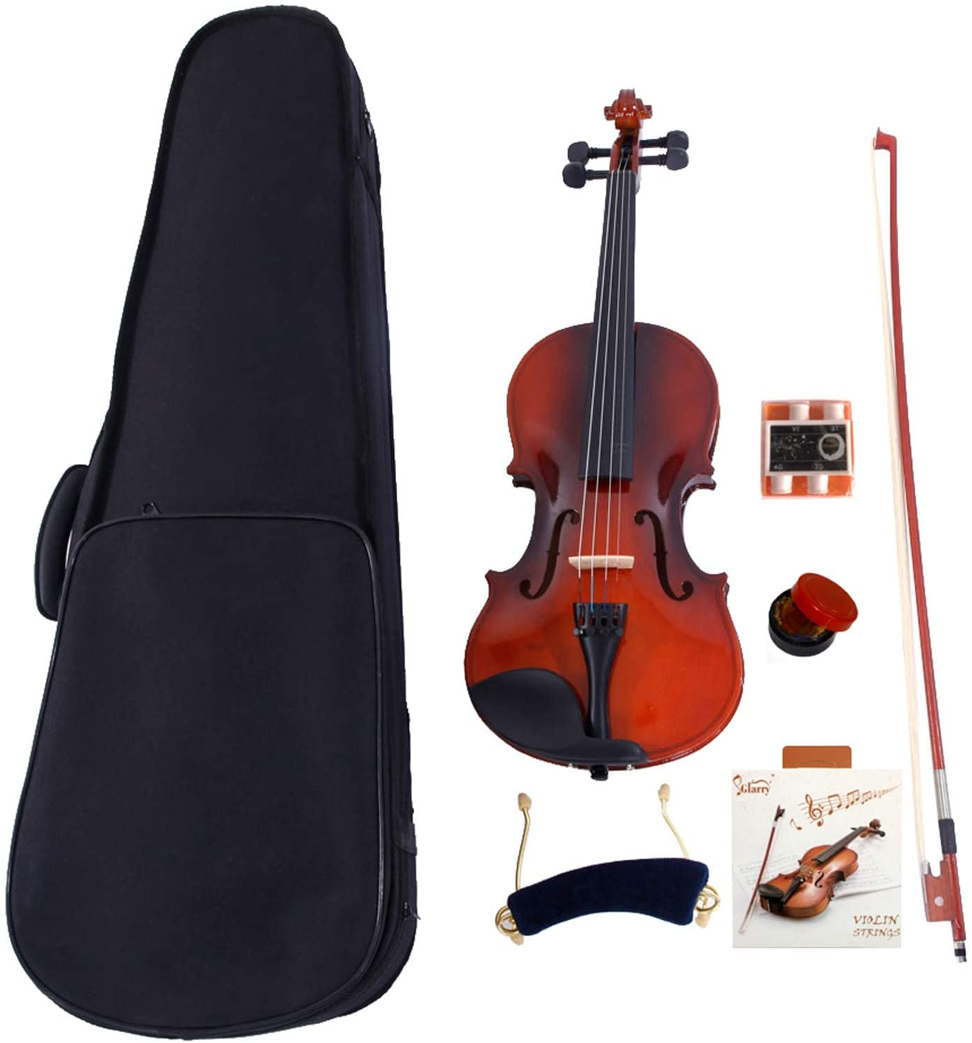 Glarry 4/4 Acoustic Violin Case Bow Rosin Strings Tuner Shoulder Rest Natural - Violin Set for Kids Beginners Students Adults