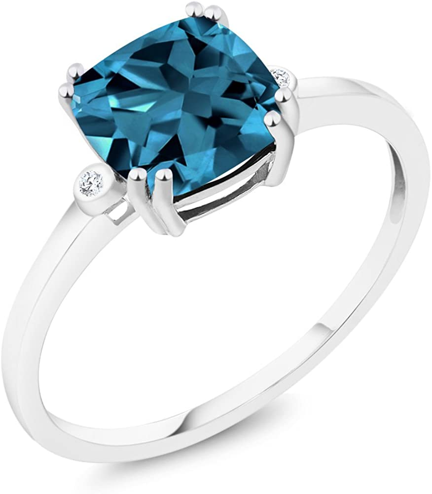 Gem Stone King Gem Stone King 10K White Gold Cushion London Blue Topaz and Diamond Accent Women Engagement Right-Hand Ring 2.74 Ctw (Available 5,6,7,8,9)
