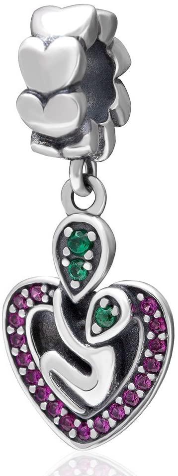 I Love You Charm 925 Sterling Silver Heart Charm Pendant Mom Charm for Bracelet