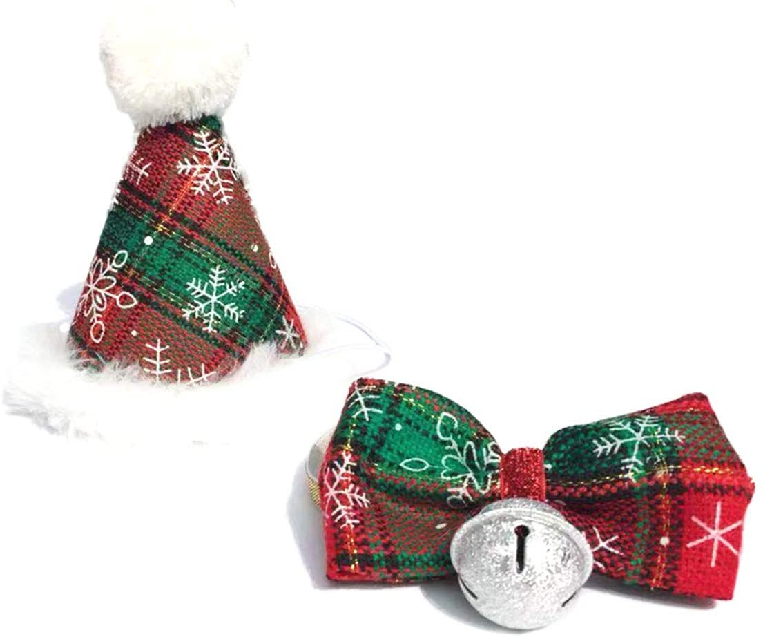 Pet Christmas Costume Set Adjustable Bow Tie + Plaid Cone Hat with Classic Red and Green for Dogs Cats