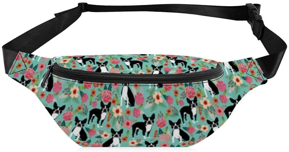 Fanny Pack for Women Men Boston Terrier Florals Dogs Pattern Multipurpose Sling Crossbody Adjustable Belt Waist Bag for Workout Vacation Hiking Running