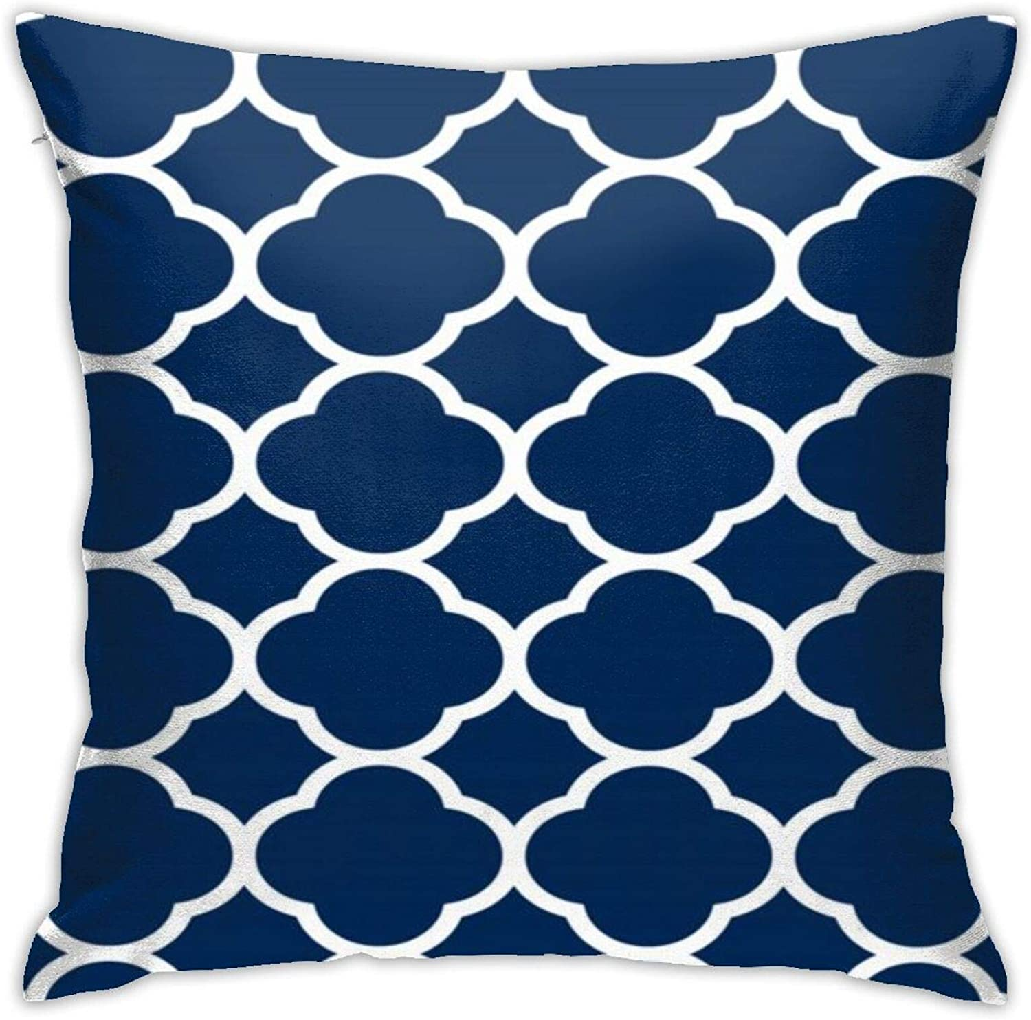 NiYoung Throw Pillow Covers Farmhouse Decorative Square Pillow Cover Case Cushion Pillowcase for Home Sofa Bedroom, 18x18 Inch (Navy White Moroccan Quatrefoil Lattice)