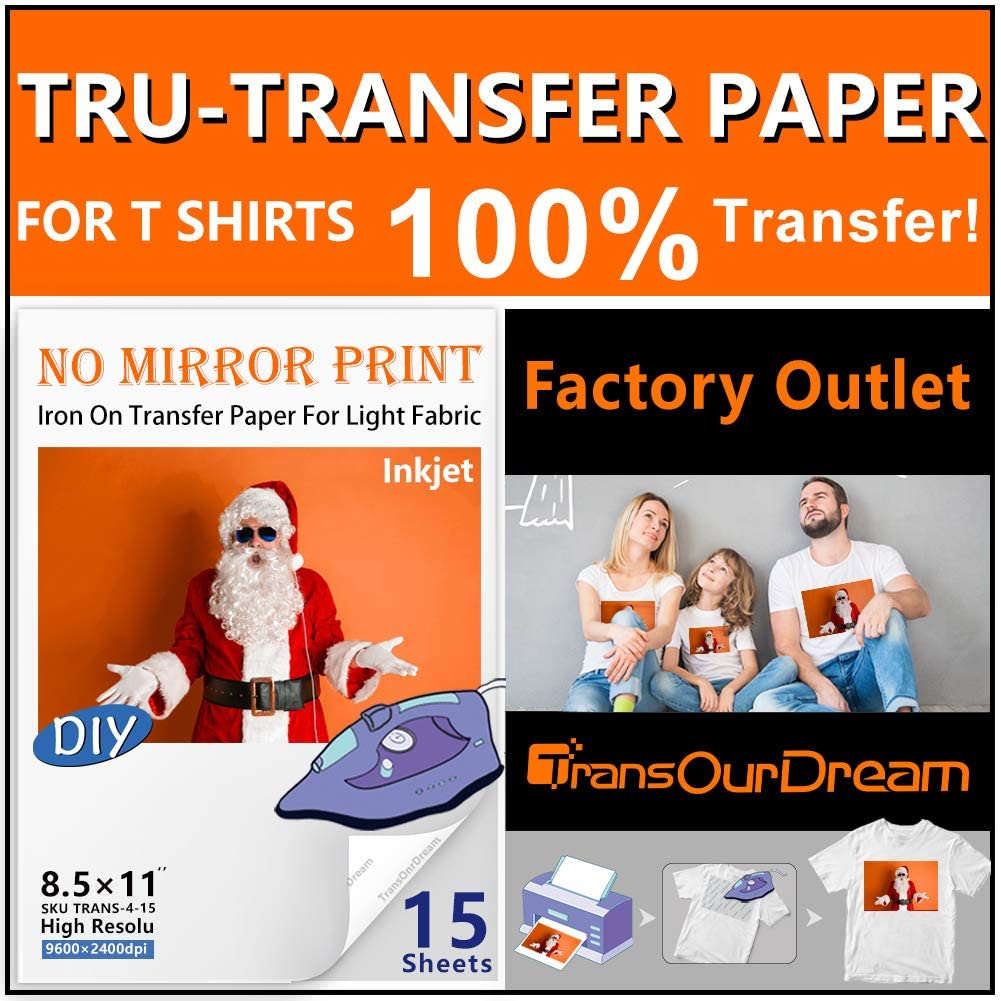 TransOurDream Tru-Transfer Paper - 15 Sheets 8.5x11 Inkjet Iron On Transfer Paper(2nd Generation) for White and Light T Shirts Fabrics,NO Mirror Print,Low Melting Point,Easy to Iron On (TRANS-4-15)