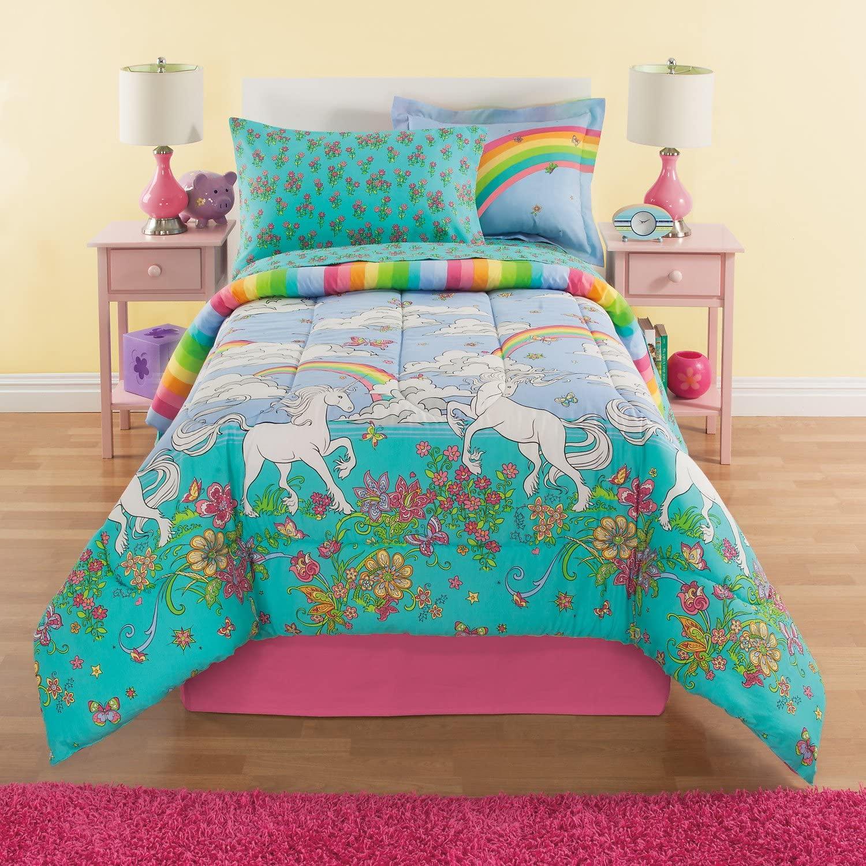 Fairy Tale Rainbows & Unicorns Girls Full Comforter Set (8 Piece Bed in A Bag) + Homemade Wax Melts