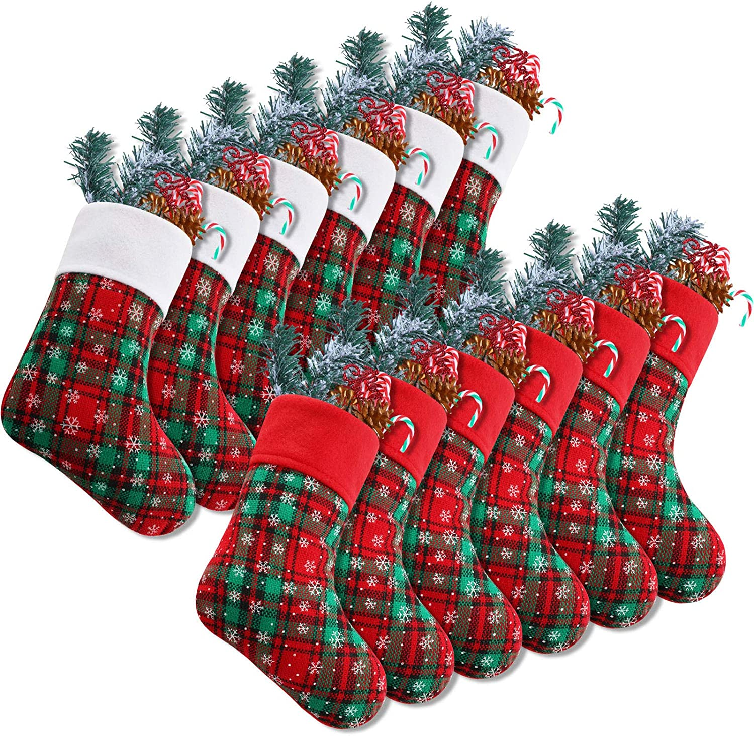 Syhood 9 Inch Christmas Mini Stockings Plaid Snowflake Christmas Stockings Christmas Hanging Stockings for Xmas Party Decorations (12)