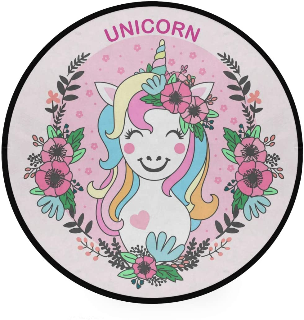 Cute Unicorn Soft Spa Polyester Round Bath Mat or Rug Place in Front of Shower, Vanity, Bath Tub, Sink, and Toilet, 36 Area Rugs(530)