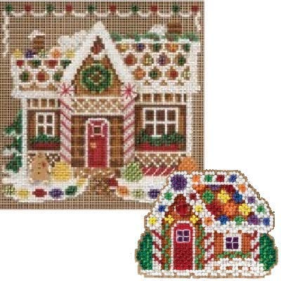 2 Item Bundle: 1 Buttons and Bead Counted Cross Stitch Gingerbread House and 1 Counted Glass Beads Kit Cardinal