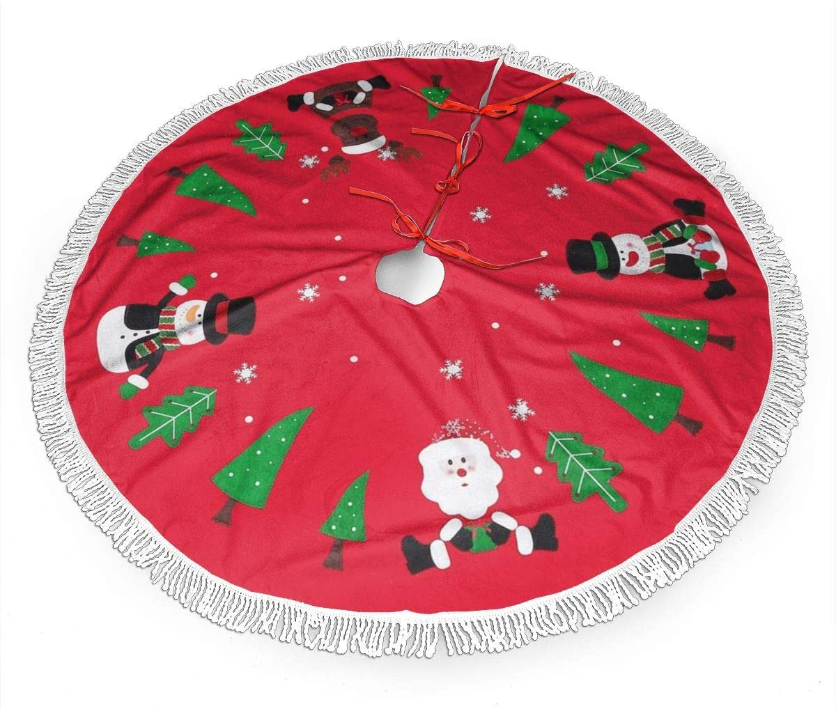 MSGUIDE Christmas Tassel Tree Skirt for Xmas Holiday Party Supplies Large Tree Mat Decor Halloween Ornaments Reindeer Snowman
