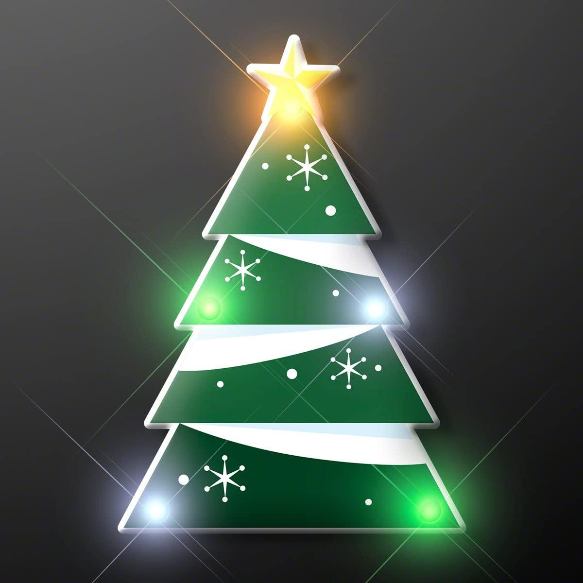 Blinky LED Christmas Tree Flashing LED Light Up Body Light Pins (Set of 5)
