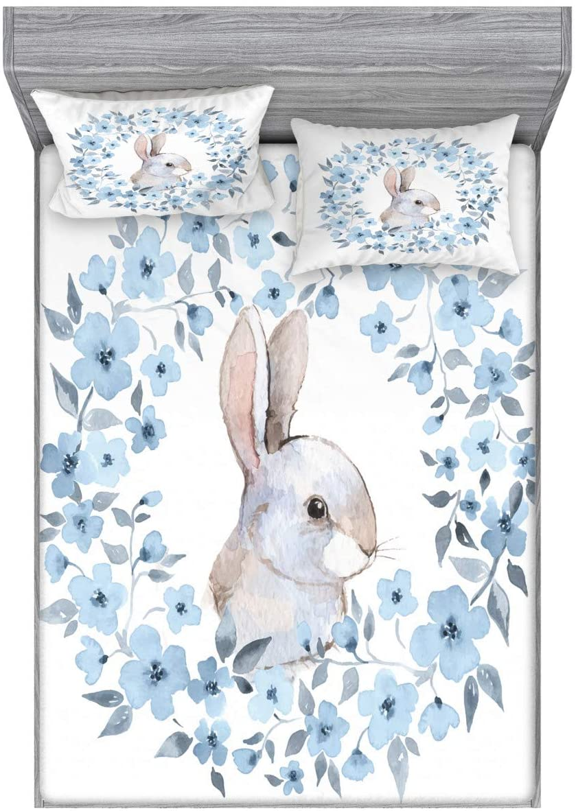 Ambesonne Watercolor Flower Fitted Sheet & Pillow Sham Set, Bunny Rabbit Portrait in Floral Wreath Illustration Country Style, Decorative Printed 3 Piece Bedding Decor Set, Queen, Blue White