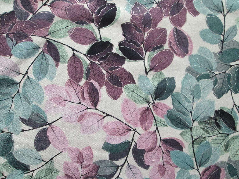 Leaves Foliage Green Lavender Purple 100% Cotton Quilting Sizes: Fat Quarter (18