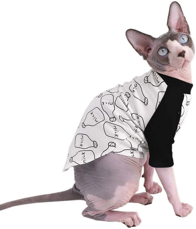 Sphynx Hairless Cat Cute Breathable Summer Cotton T-Shirts Milk Bottle Pattern Pet Clothes,Round Collar Vest Kitten Shirts Sleeveless, Cats & Small Dogs Apparel (M (4-5.5 lbs), Milk)