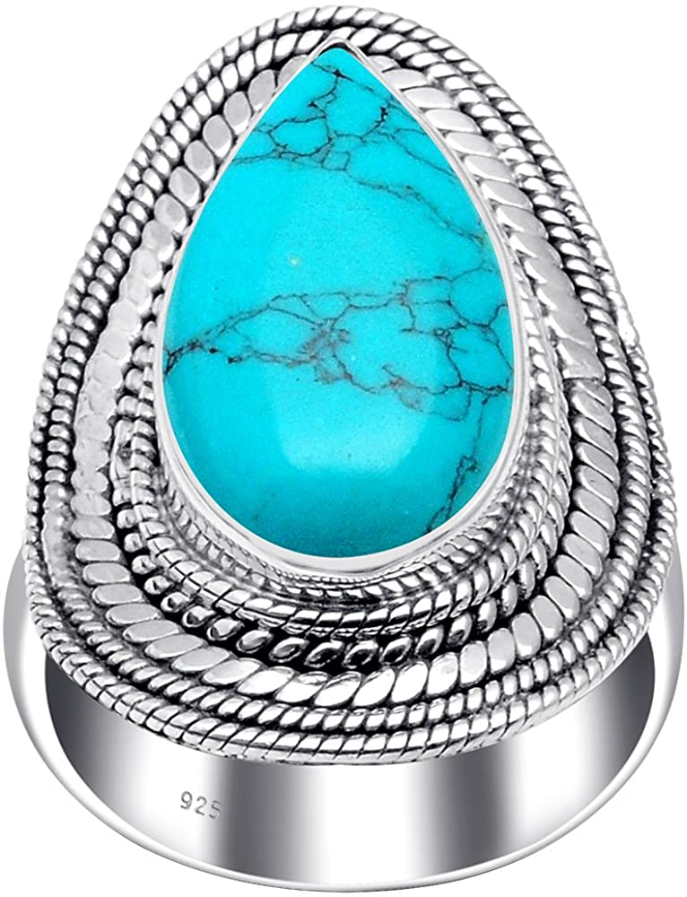 11.00 Ct Pear Grey Labradorite, Moonstone, Smoky Quartz, Tiger Eye, Turquoise Wedding 925 Sterling Silver Ring For Women By Orchid Jewelry