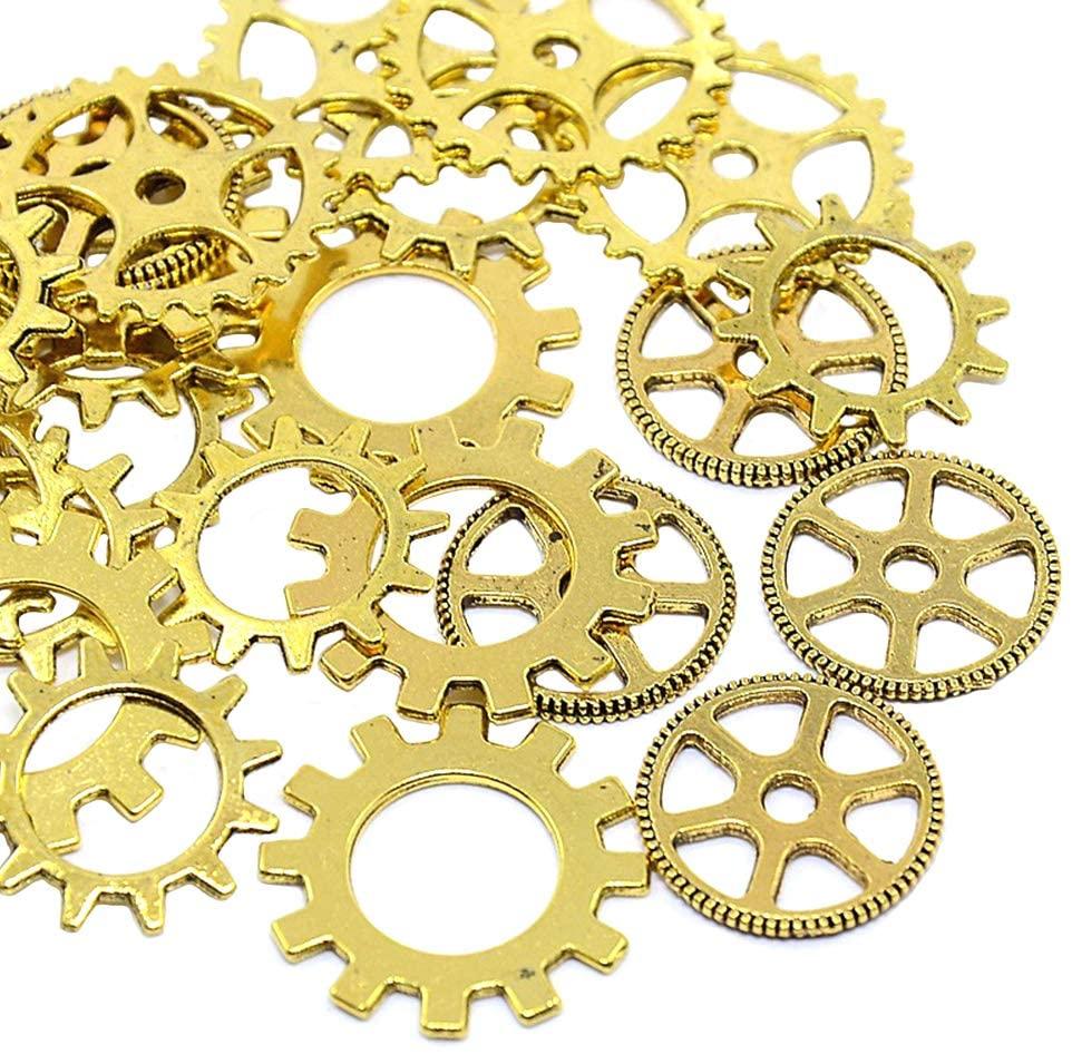 arricraft 5 Sets Antique Golden Alloy Charms, Tibetan Style Metal Pendants, Mixed Shape Cog Beads Pendants for Necklace Bracelet Jewelry Making Accessories