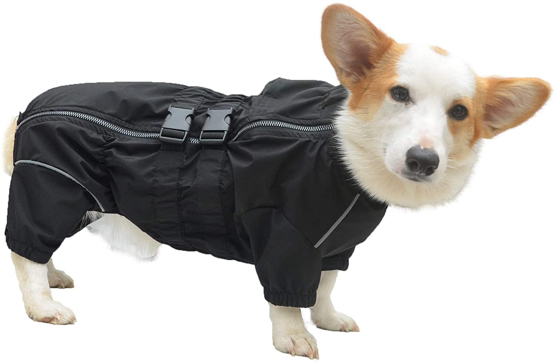 Lovelonglong Dogs Waterproof Jacket, Lightweight Waterproof Jacket Reflective Safety Dog Raincoat Windproof Snow-Proof Dog Vest for Small Medium Large Dogs