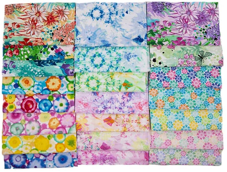 22 PCS 17.5 x 10.5 inches (45 x 25 cm) 100% Cotton Craft Fabric Bundle for Patchwork 22 Different Pattern Pre-Cut Quilting Fabric Quarter Square for DIY Craft Sewing (Flower Pattern).