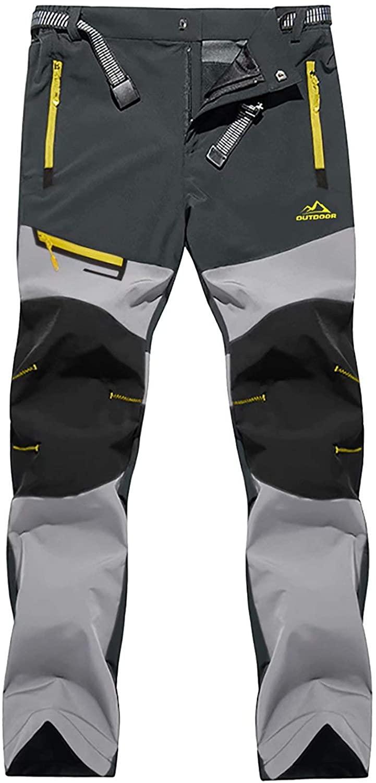 BIYLACLESEN Men's Work Pants with 5 Zipper Pockets Outdoor Lightweight Water Resistant Hiking Pants
