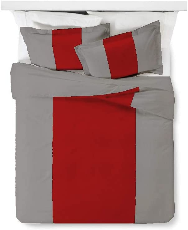 Kotton Culture Contrast Colorbar 3 Piece Duvet Cover Set 100% Egyptian Cotton 600 Thread Count with Zipper Closure & Corner Ties Silver Base (1 Duvet Cover 2 Pillow Shams) (Queen/Full, Blood Red)