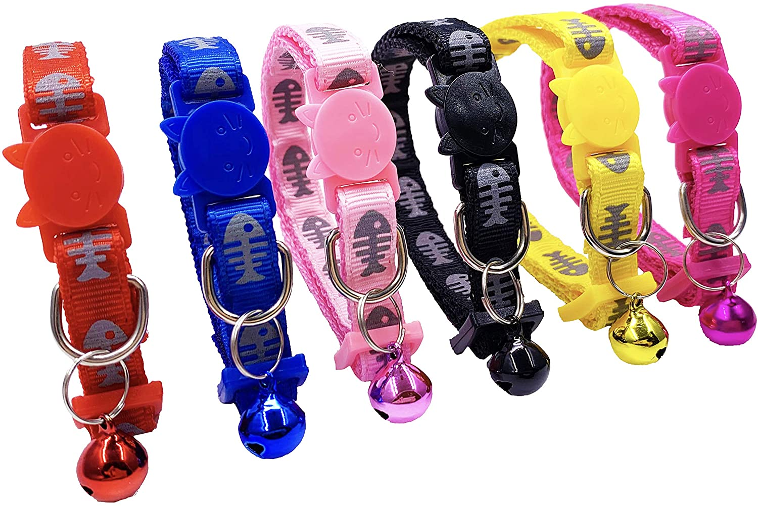 PACCOMFET 6 Pcs Breakaway Cat Collars Adjustable Colorful Nylon Safety Pet Collar Printed Fishbone with Bells