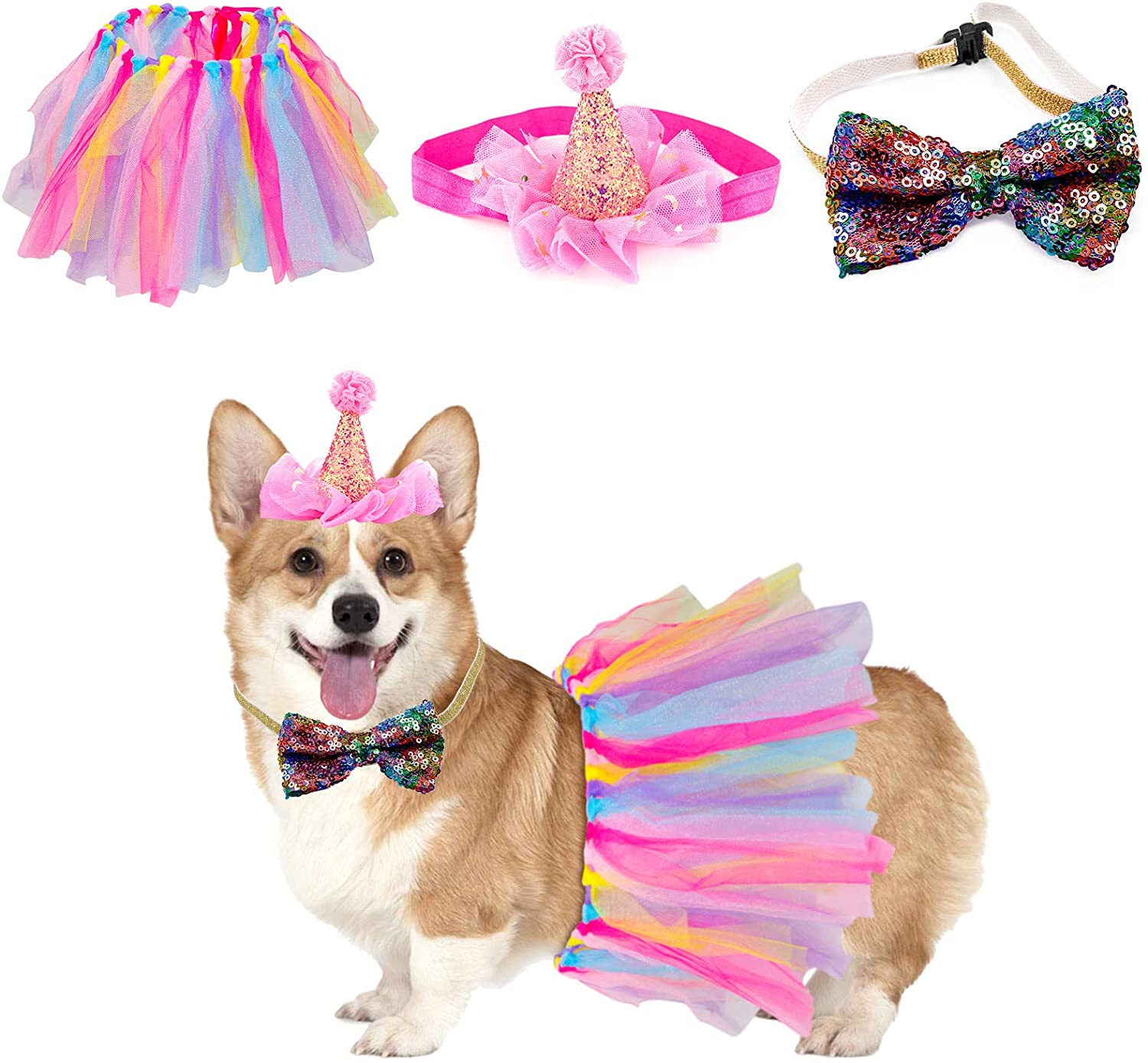 Dog Tutu Skirt Bowtie Hat Set, Outfit Birthday Wedding Party Supplies for Small Medium Puppy Girl