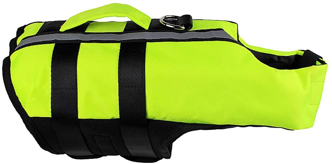 Vohoney Dog Life Jackets Safety Jackets Pet Folding Floatation Vest Saver Dog Portable Airbag Swimming Vest Ripstop Dog Safety Vest with Buoyancy Adjustable Rescue Handle