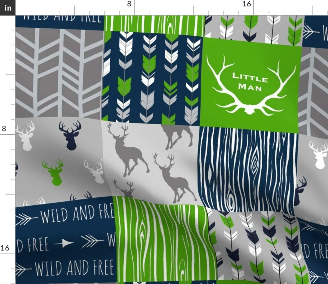 Spoonflower Fabric - Squares Patchwork Deer Green Little Man Blue Cheater Printed on Cotton Poplin Fabric by The Yard - Sewing Shirting Quilting Dresses Apparel Crafts