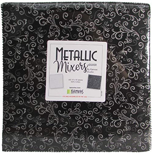 Metallic Mixers Silver Layer Cake 10 Inch Quilting Squares 42 by Benartex Premium Yarn Dyes