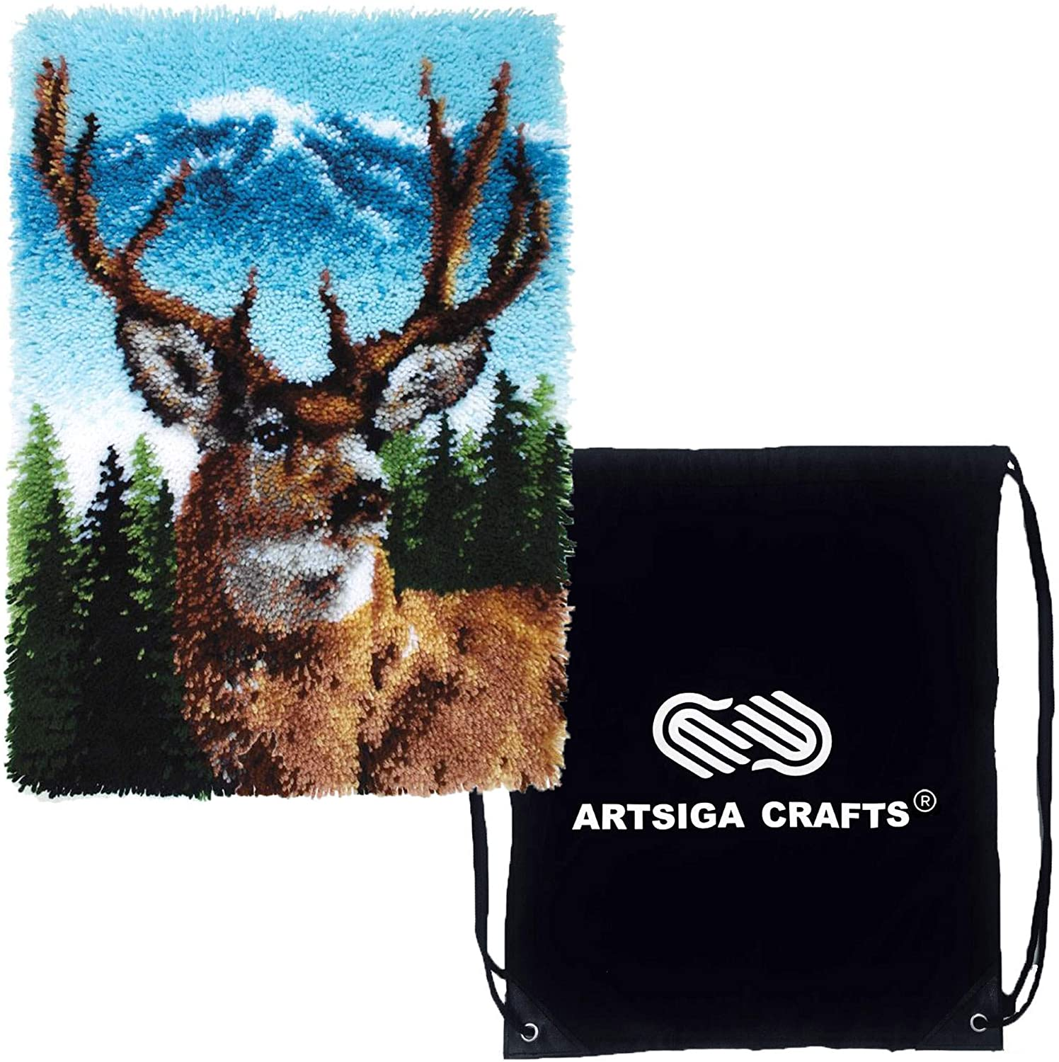 Caron Wonderart Classic Latch Hook Kit 20 x 30 inches (Finished Size) Deer Bundle with 1 Artsiga Crafts Project Bag (426403)