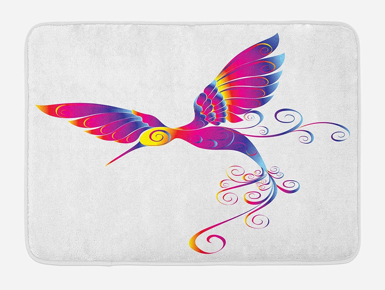 Ambesonne Hummingbirds Bath Mat, Colorful Feather Hummingbird Curvy Tail Ornament, Plush Bathroom Decor Mat with Non Slip Backing, 29.5