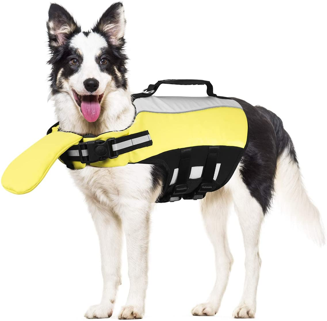 POPETPOP Dog Life Jacket for Swimming - Pet Float Coat Reflective Dog Vest Saver Swimsuit Preserver with Padding for Small, Middle, Large Dogs