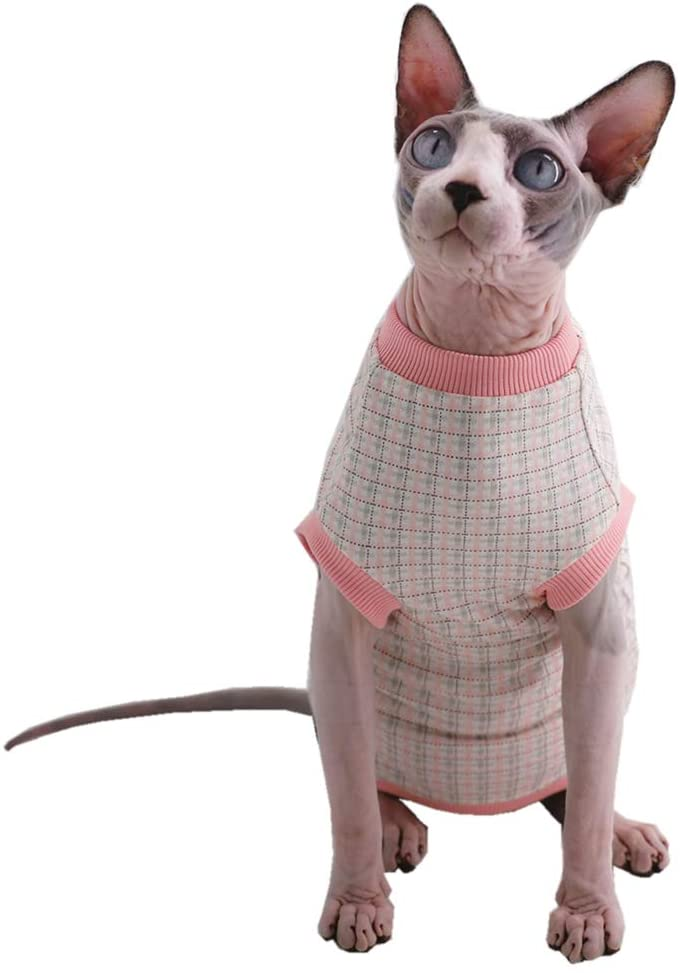 Sphynx Hairless Cat Purple Bunny Pattern Breathable Summer Cotton T-Shirts Pet Clothes,Round Collar Vest Kitten Shirts Sleeveless, Cats & Small Dogs Apparel (XL (8.8-11 lbs), Pink Lattice)