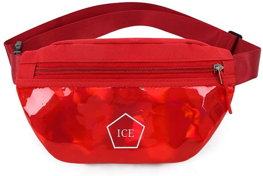 Korean Style Shiny Bling Sporting Fanny Pack Waist Bag Double Zipper Crossbody Purse Shoulder Bag for Woman & Girl (Red)