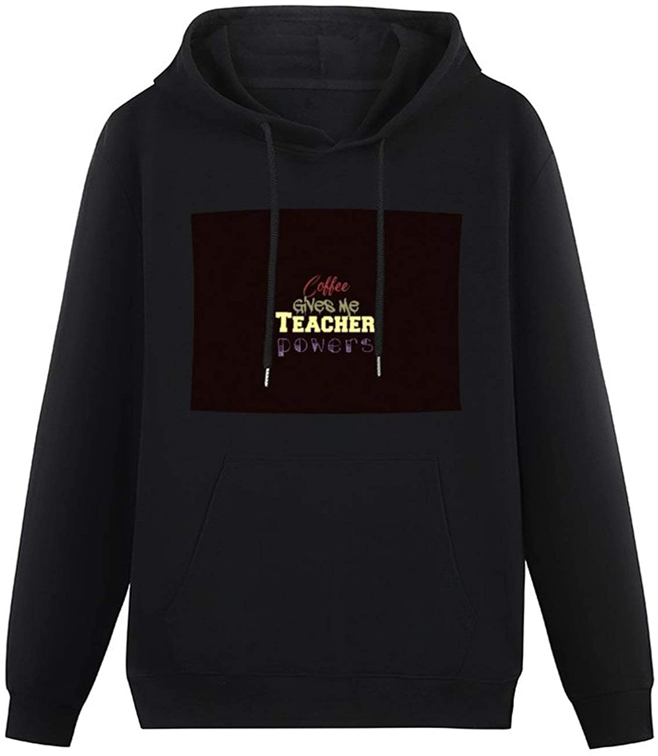 zhongmin Coffee Gives Me Teacher Powers Jigsaw Puzzle Hoodie Men's Teen Hood Pullover Comfy Big Front Pocket