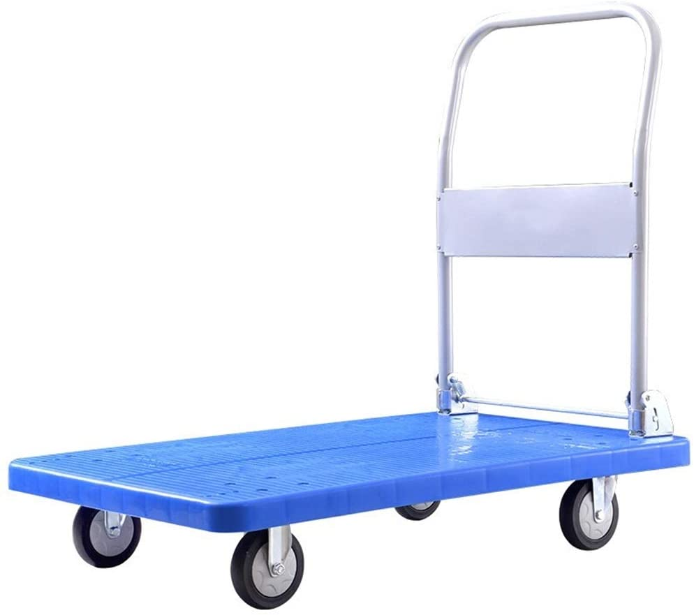 YADSHENG Cargo Trolley Folding Hand Truck Dolly with 4 Wheels 360 Rotating Platform Collapsible Trolley Cart for Shopping Moving Platform Trucks (Color : Blue, Size : 100X60CM)