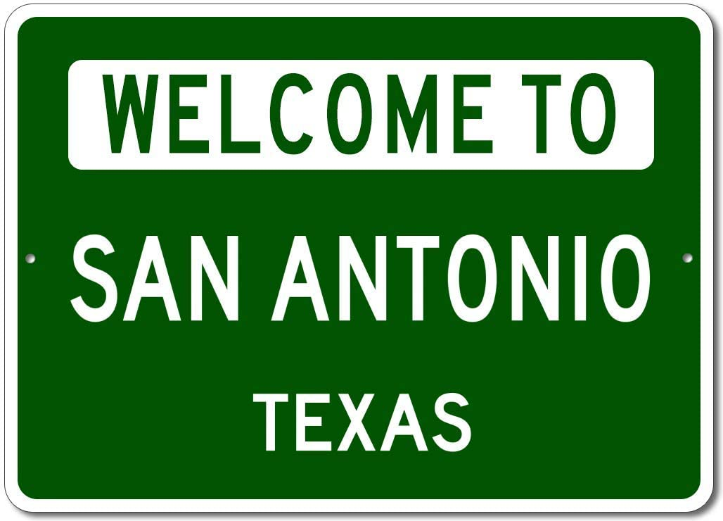 San Antonio, Texas - Welcome to US City State Sign - Metal Street Sign, Man Cave Wall Decor, Personalized Gift Idea, US City Welcome Sign, Made in USA - 10x14 inches