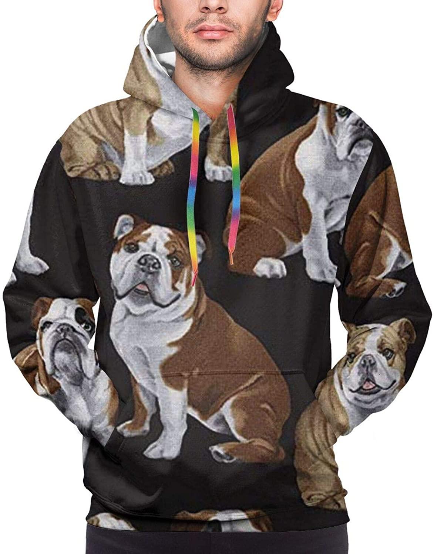 LaboxerBif Mens Hoodie English Bulldogs Hooded Pullover Sweatshirt with Pocket