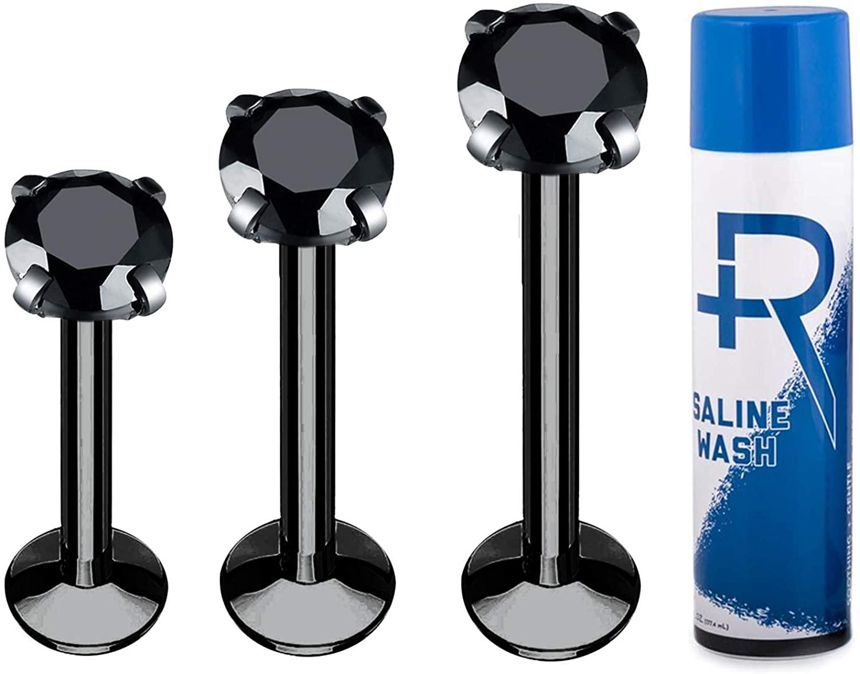 BodyJ4You 3PC Labret Stud Tragus Earring Set Aftercare Saline Spray 16G CZ Crystal Steel Helix Monroe Jewelry