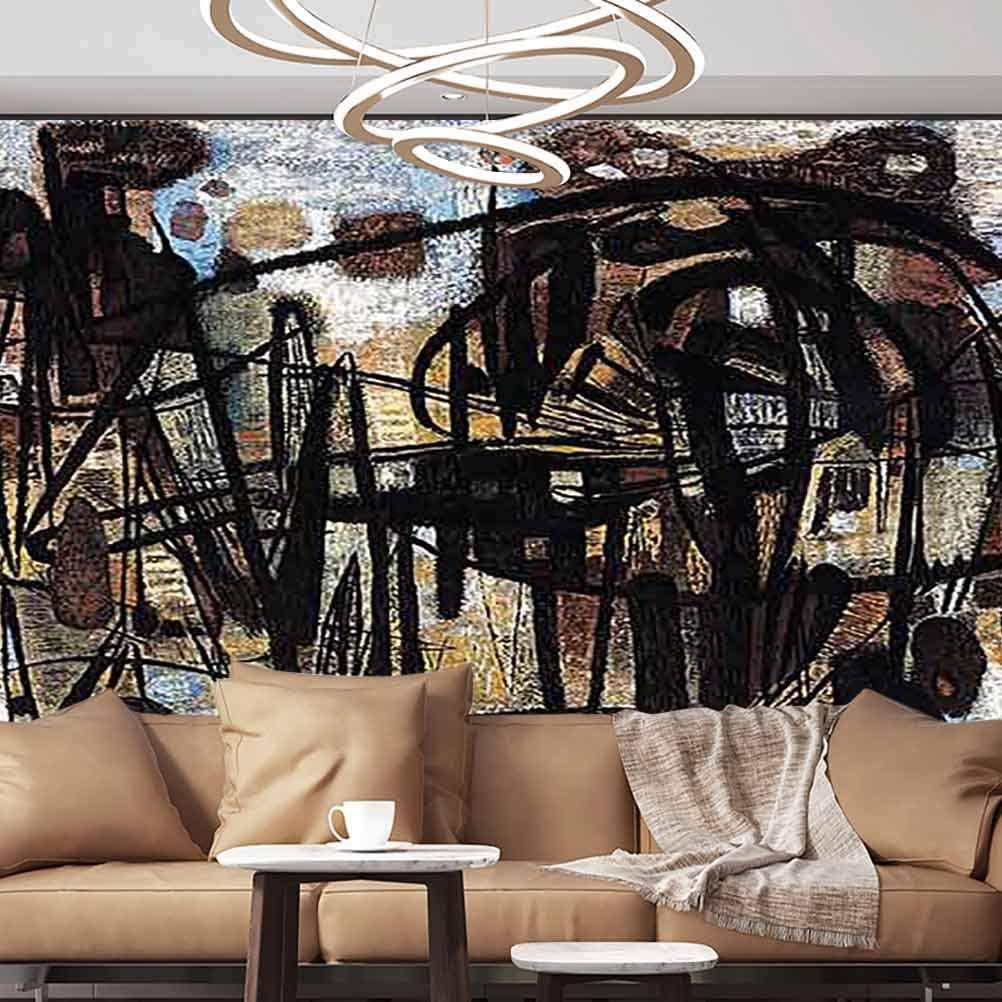 Albert Lindsay Backdrop Wallpaper Mural Abstract Modern Art Paperhanging Wallpaper,135x106 inches/343x270 cm,for Livingroom Bedroom Nursery School Family Wall Decals