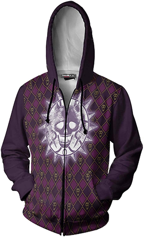JoJo's Bizarre Adventure Jotaro Kujo Hooded Sweater 3D Printed Kujo Jotaro Zipper Coat Jacket Hoodie (L, Purple)